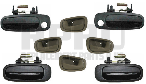 Toyota Corolla Inside Outside Door Handles Set Of 8 1998 2002 Tan Inside Smooth Outer Finish