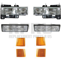 Headlamps Turn Signals And Side Reflectors Set/8 Chevy Truck And SUV