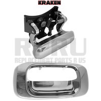 Kraken Brand Chrome Tailgate Latch Handle And Bezel For Chevy Silverado GMC Sierra 99-06 Without Lock Hole