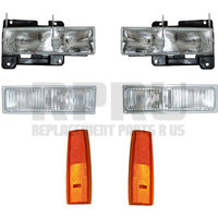 GMC Truck And SUV Headlamps Turn Signals And Side Reflectors Set/6 With Composite Lamps