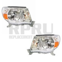 Headlights For Toyota Tacoma 2005-2011 Pair Left Right Chrome Bezel Nice