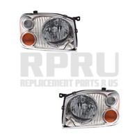 New Pair Chrome Headlights For Nissan Frontier 2001 2002 2003 2004 SE XE