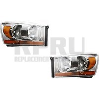 Headlights For Dodge Truck 1500 2500 3500 Pair 2006 Only Chrome Trim