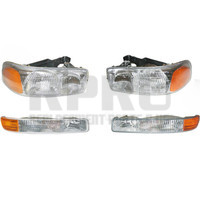 Headlights And Signal Lights Fits GMC Sierra 99-06 07 Classic 01-06 Yukon Except Denali