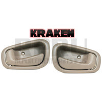 Kraken Brand New Inside Door Handles Pair For Toyota Corolla 1998-2002 Tan Without Lock Hole