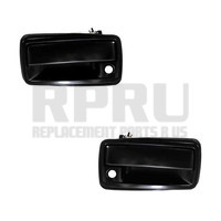 Black Metal Outside Door Handles Front Pair Smooth Finish