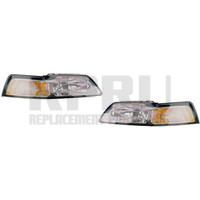1999-2004 Ford Mustang Headlights Pair Left/Right Chrome Bezel Nice