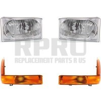 Super Duty Truck Headlights With Signal Lamps Amber Set Of 4 Lens And Housing