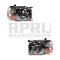 Nissan Frontier Headlights Pair Left And Right Black And Chrome Inner Bezel